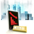 Gold commodity with negative online results in business district — Stock Photo #42658637