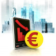 Euro gold coin with negative online results in business district — Stock Photo #42658653
