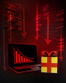 Gift box with negative online results in business  — Stock Photo