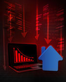 Real estate stock with negative online results in business  — Stock Photo