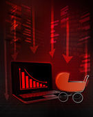 Baby buggy with negative online results in business  — 图库照片