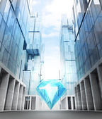 Luxurious diamond in business city — Fotografia Stock