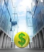 Ouro moeda de dólar na cidade de negócios — Foto Stock