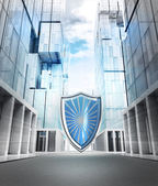 Big shield protection in business city — Foto Stock