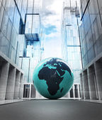Africa earth globe in business city — Stock Photo