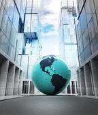 America earth globe in business city — Foto Stock
