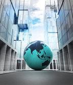 Asia earth globe in business city — Foto Stock