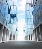 Empty new modern business city — Stock Photo