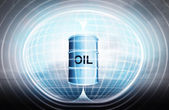 Oil barrel stuck in energy capsule — Stock Photo