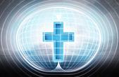 Religion cross stuck in energy capsule — Stock Photo