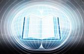 Open book stuck in energy capsule — Stock Photo