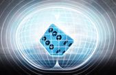 Lucky dice stuck in energy capsule — Stock Photo