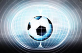 Soccer ball stuck in energy capsule — Stock Photo