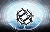 Movie tape stuck in energy capsule — Stock Photo
