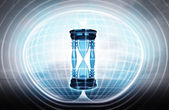 Hourglass stuck in energy capsule — Stock Photo