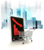 Shopping cart with negative online results — Stock Photo