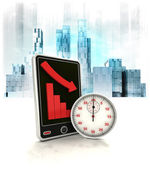 Stopwatch timer with negative online results in business district — Stock Photo