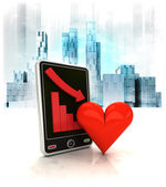 Red heart with negative online results — Stock Photo