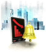 Golden bell with negative online results — Stock Photo