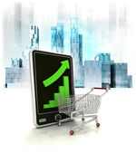 Shopping chart with positive online results — Stock Photo