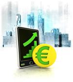 Moneda de oro con resultados positivos en línea — Foto de Stock