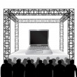 New laptop on festival stage — Stock Vector #42653761