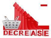 Trade market basket with red descending arrow graph vector — Stock Vector