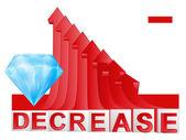 Diamond business with red descending arrow graph vector — Stock Vector