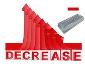 Järn varor affärer med röda fallande pilen diagram vektor — Stockvektor