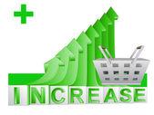 Trade market basket on green rising arrow graph vector — Stock Vector