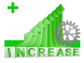 Machinery industry on green rising arrow graph vector — Vettoriale Stock