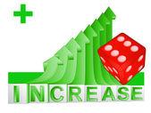 Red lucky dice on green rising arrow graph vector — Stock Vector