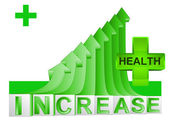 Health stats on green rising arrow graph vector — Stock Vector