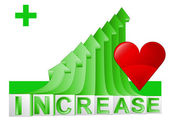 Love or medical stats on green rising arrow graph vector — Vettoriale Stock