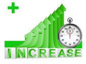 Time meter on green rising arrow graph vector — Vector de stock