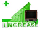 Television on green rising arrow graph vector — Stock Vector