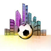Soccer ball with colorful cityscape — ストックベクタ