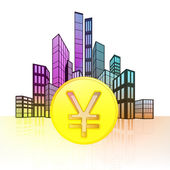 Golden Yuan coin with colorful cityscape — Stock Vector