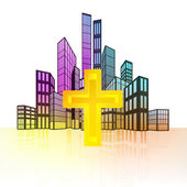 Golden cross with colorful cityscape — Stockvector