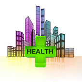 Health care with colorful cityscape — Stock Vector