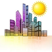 Summer sun with colorful cityscape — Stock Vector