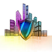 Security shield with colorful cityscape — Stock Vector