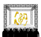 Modern music on festival stage — Stock Vector