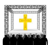Golden cross on festival stage — Stock Vector