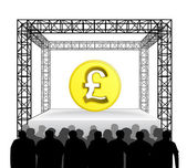 Golden Pound coin on festival stage — Stock Vector