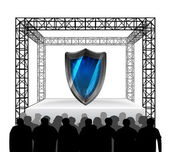 Security shield on festival stage — Stock Vector