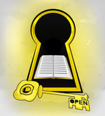 Entrée de l'éducation en trou de serrure avec le livre — Vecteur