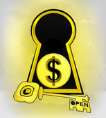 Keyhole golden entrance to be rich with Dollar coin — Cтоковый вектор