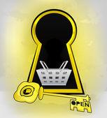 Keyhole golden shopping entrance with basket inside — Stock Vector