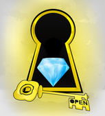 Keyhole golden entrance with diamond inside — Stock Vector